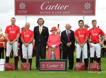 Winning Scone team (James Harper, David Paradice, Nico Pieres, James Beim) with HM The Queen, Laurent Feniou of Cartier and Brian Stein, Chairman of Guards Polo Club.jpg